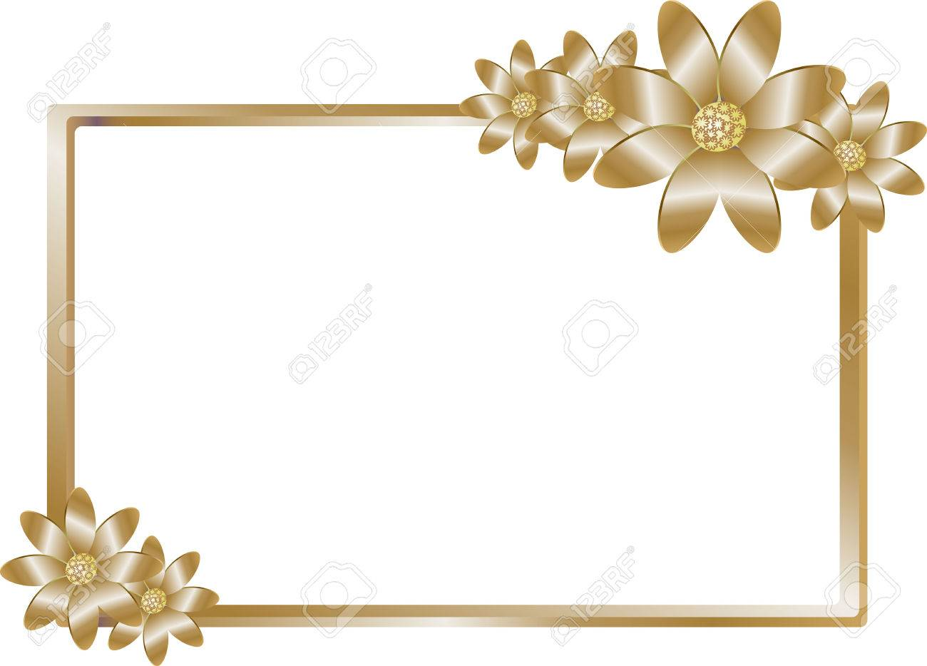 Golden Frame For The Invitation, Business Cards Royalty Free ...