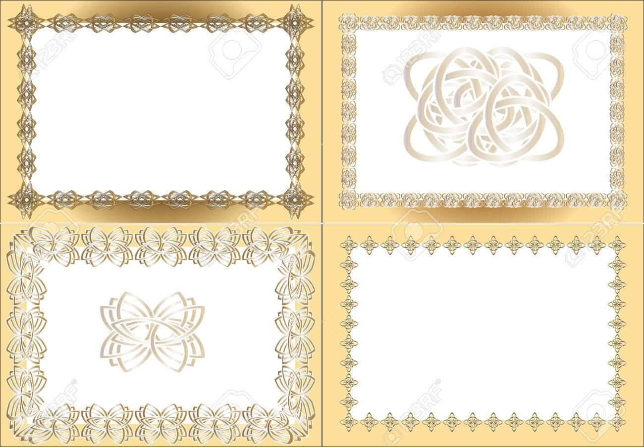 Four Vintage Rectangular Frames, Gold Registration And Black ...