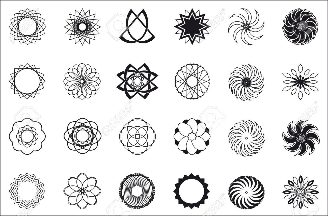 Twenty Four Abstract Icon Object Patterns Black White