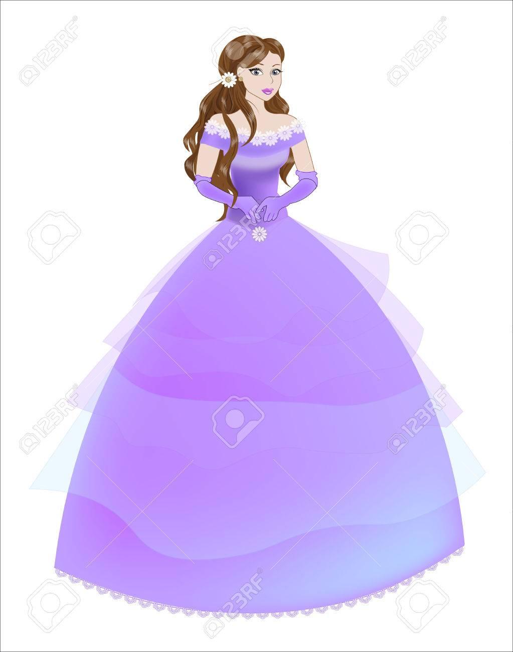 La Gran Novia De La Princesa Con El Pelo Castaño Con Un Vestido ...