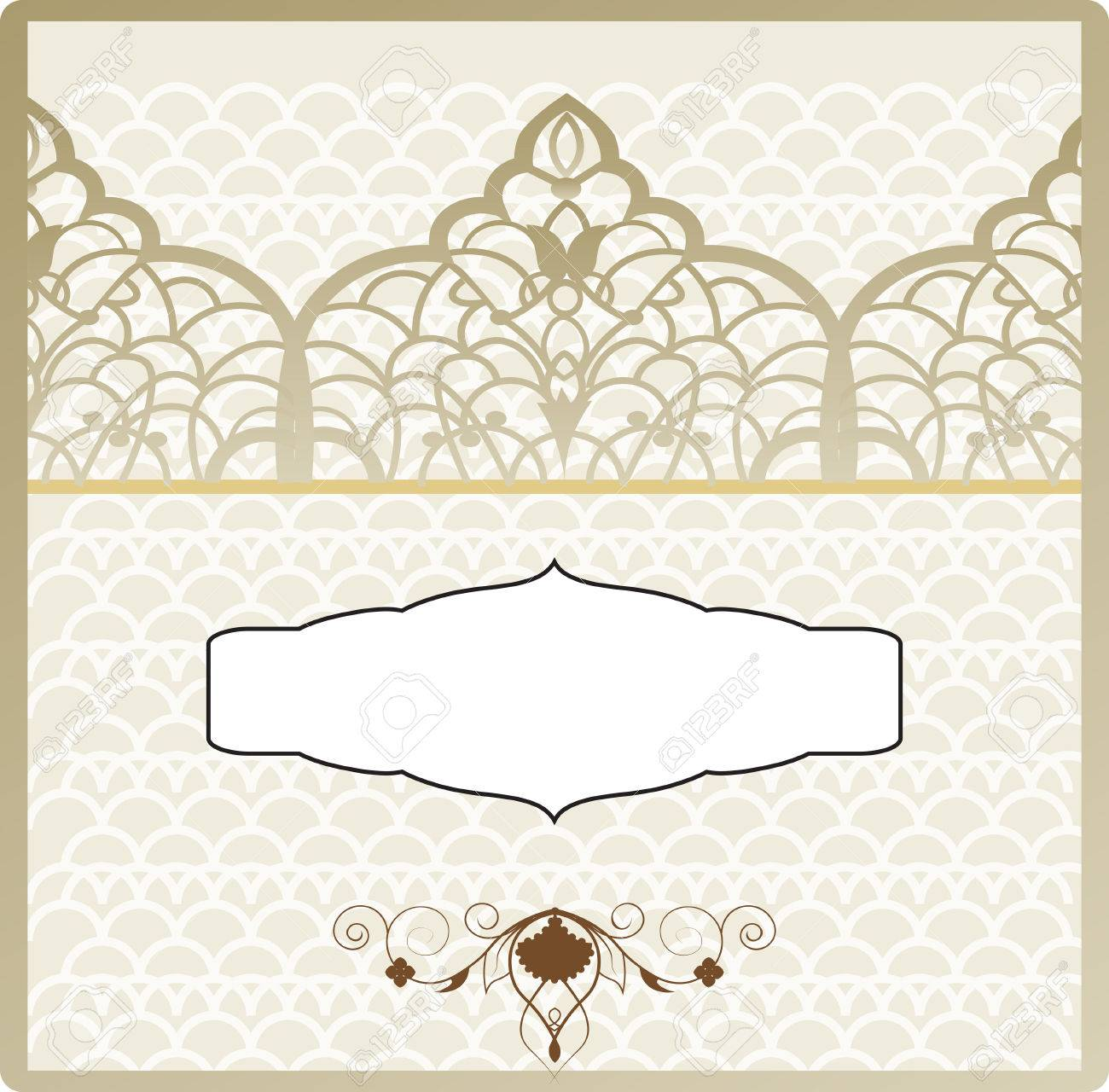 The Vintage Wedding Invitation In Ottoman Style The Arabic Patterns