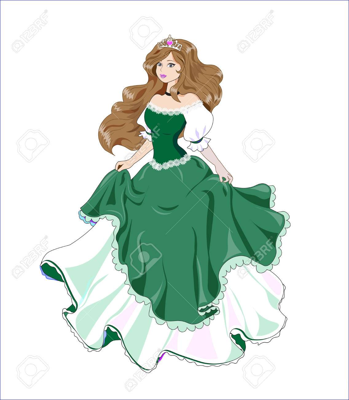 Great Princess With Brown Hair In A Ball Green Dress Royalty Free