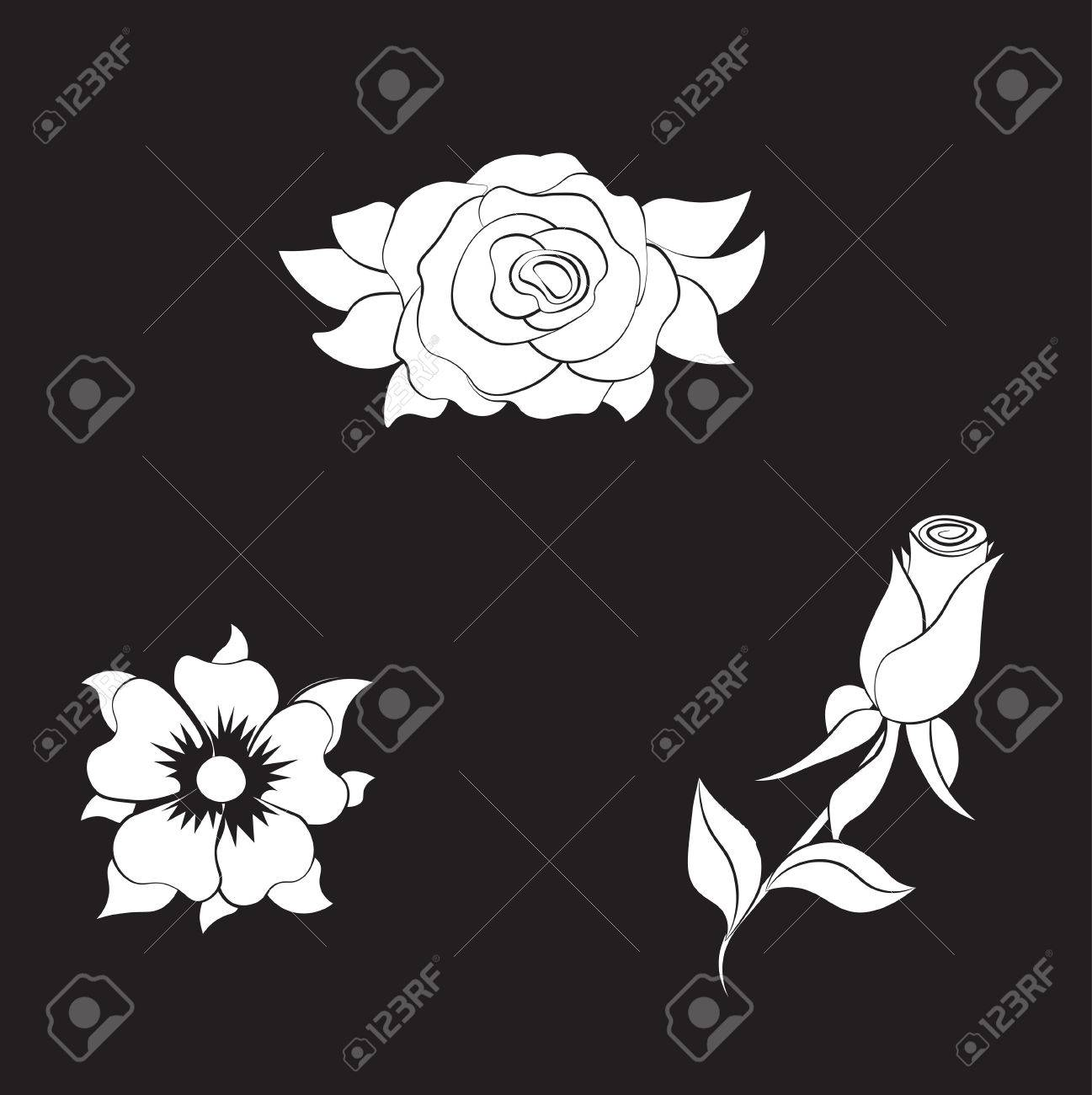 Coloring Rose And Daisy Flower Set Stock Vector
