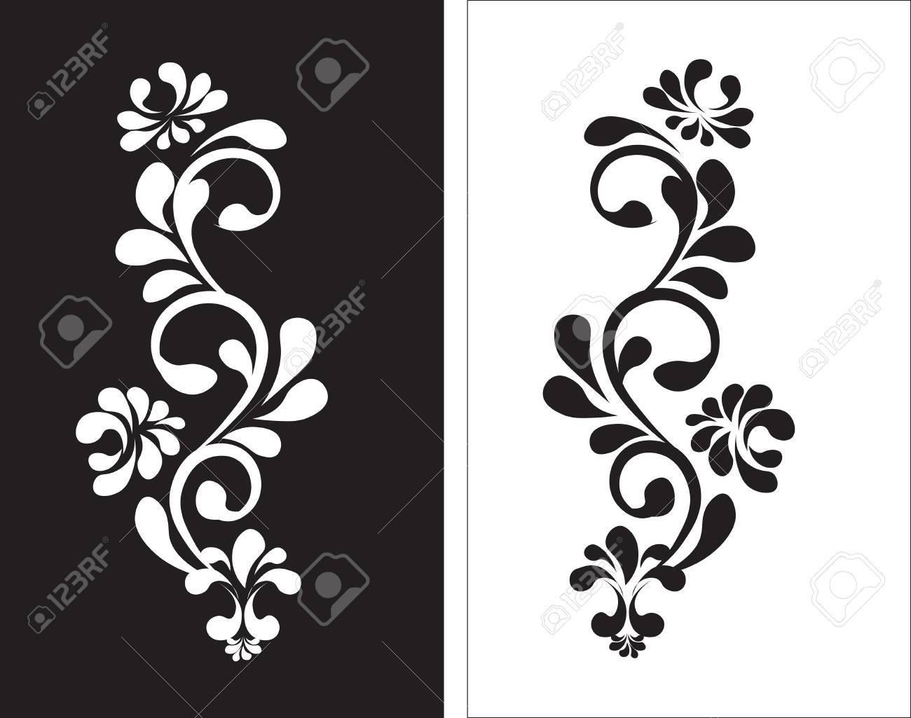 Hermoso Patron De Flores Vintage Blanco Sobre Fondo Negro Dibujos