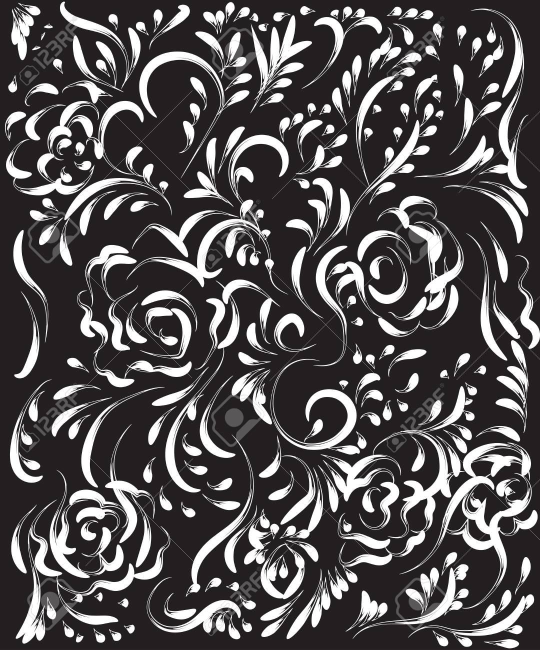Beau Modèle De Fleur Vintage Blanc Sur Fond Noir Dessins De Monogrammes Sur Les Ongles