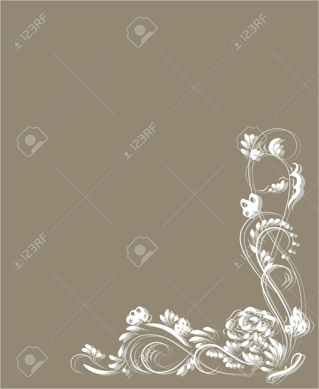 Hermoso Patrón De Flores Vintage Blanco Sobre Fondo Beige Dibujos De Monogramas En Las Uñas