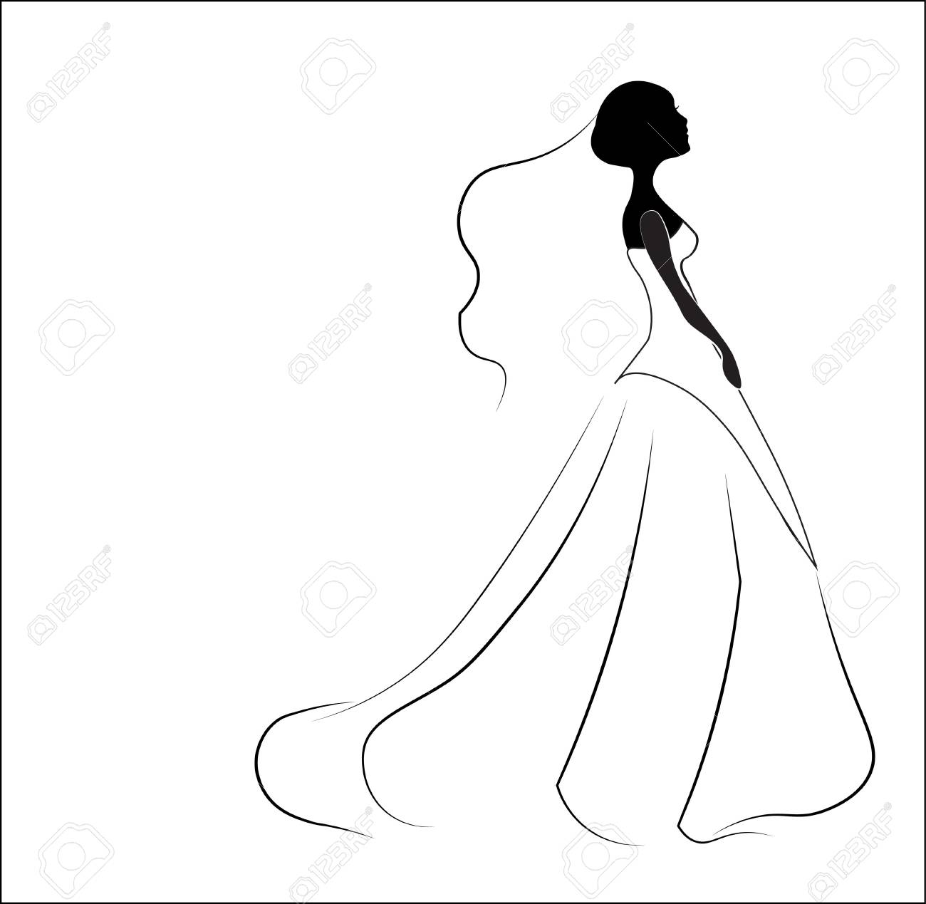 Silhouette Of The Bride, For Wedding Invitation Royalty Free ...