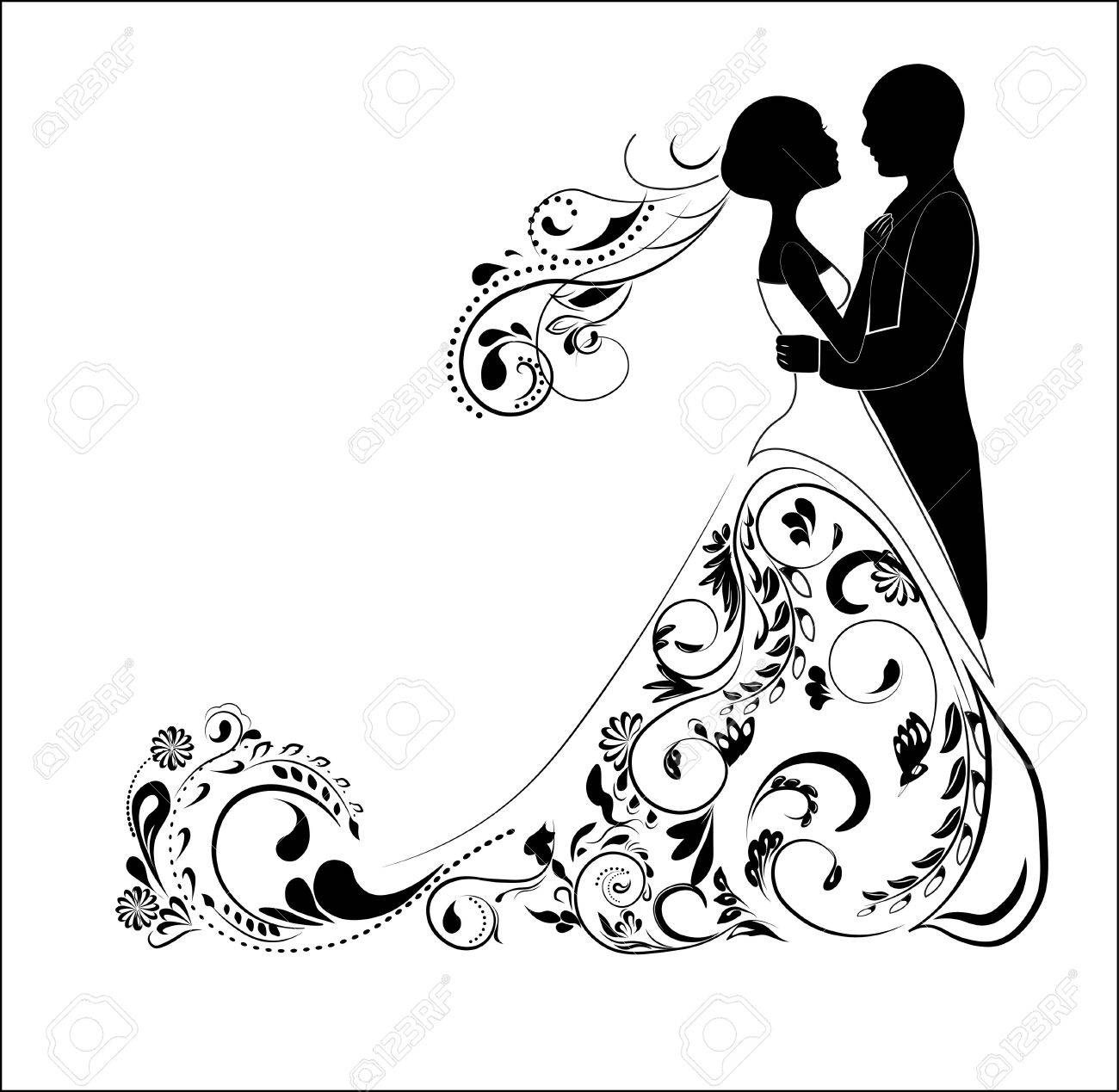 Silhouette Of The Groom And Bride, For Wedding Invitation Royalty ...