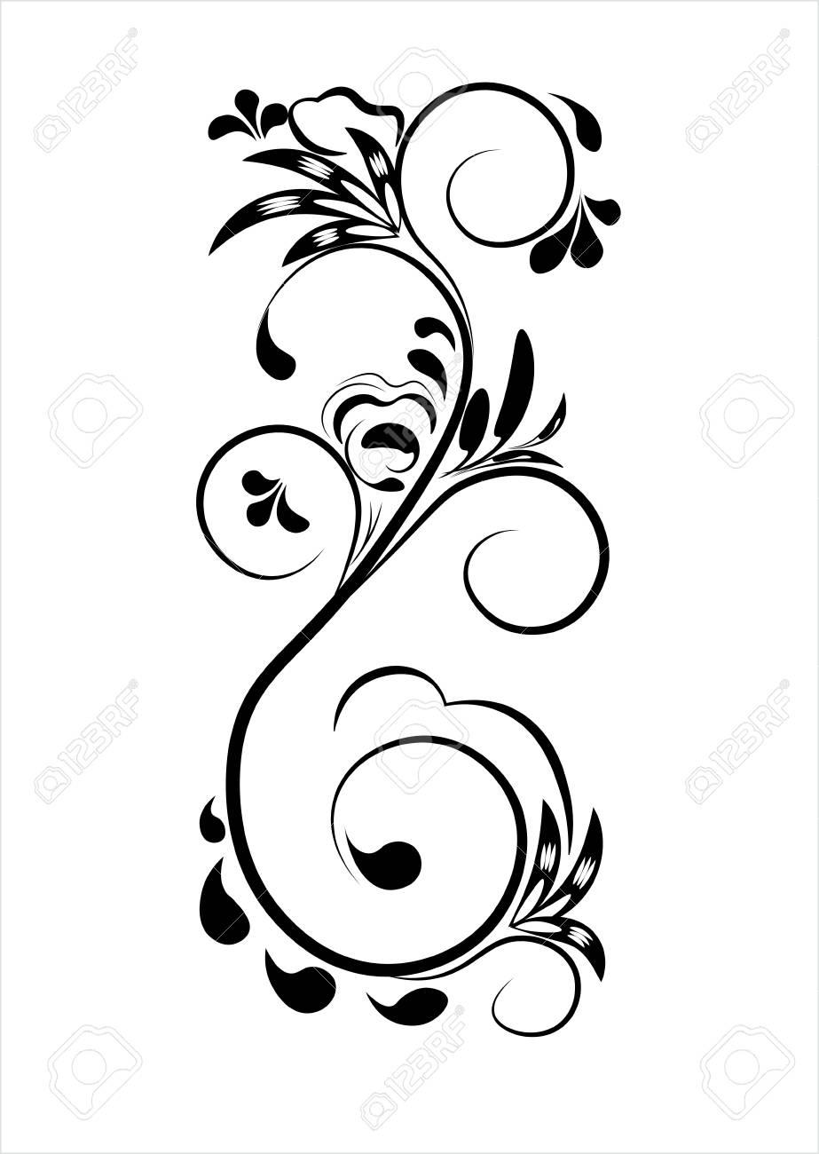 Beau Modèle De Fleur Vintage Noir Sur Fond Blanc Dessins De Monogrammes Sur Des Ongles