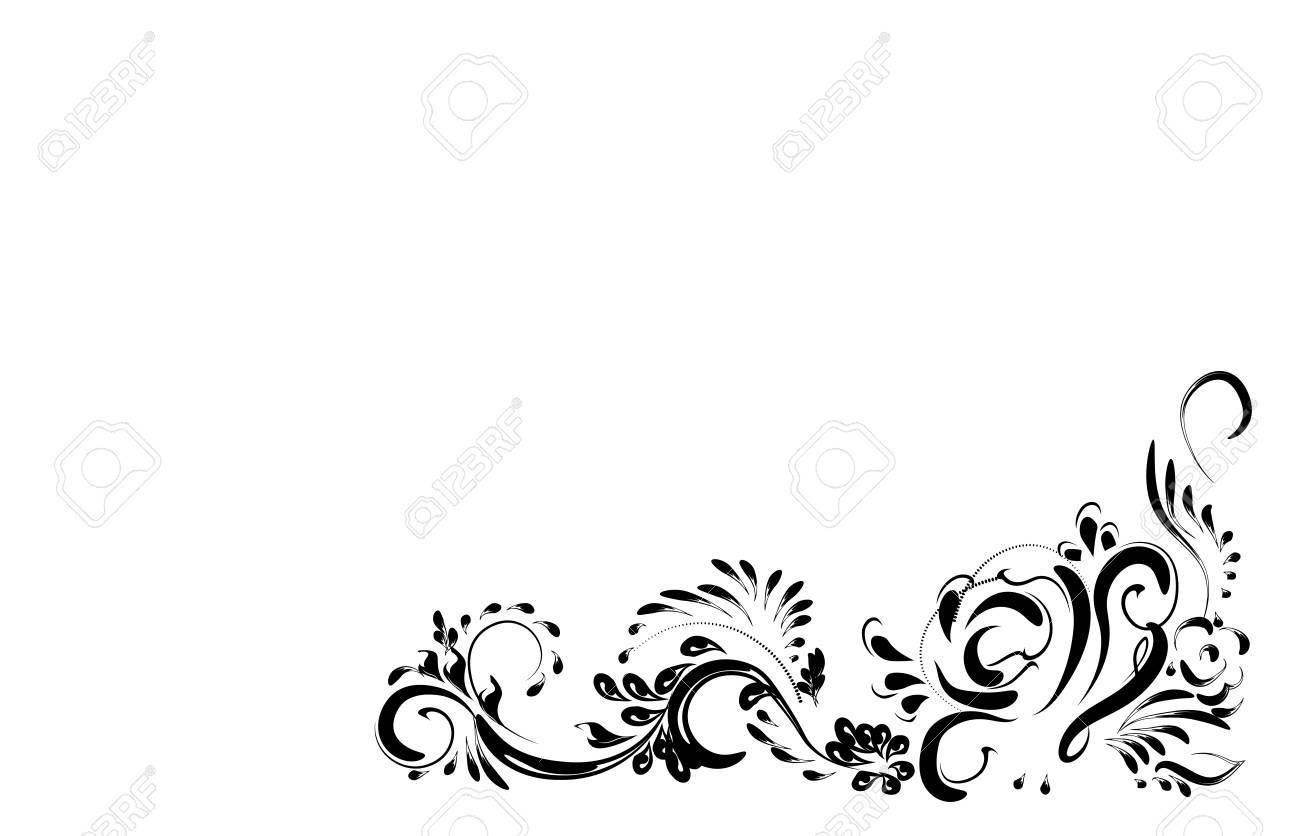 Vettoriale Bellissimo Modello Fiore Vintage Nero Su Uno Sfondo