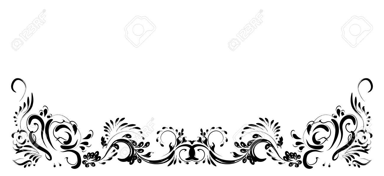 Beautiful Vintage Flower Pattern Black On A White Background Drawings Of Monograms Stock Vector