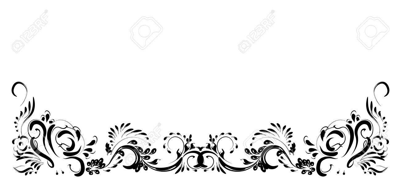 Hermoso Patron De Flores Vintage Negro Sobre Fondo Blanco Dibujos