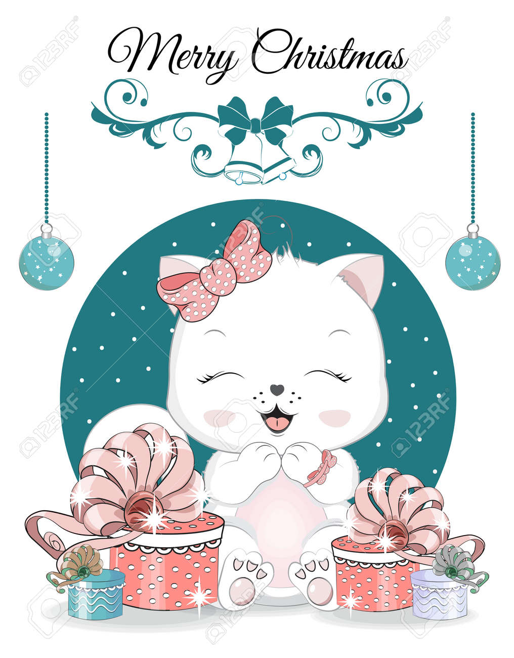 Happy New year. Merry Christmas cute white cat, kitten on ball. Picture in hand drawing cartoon style, for t-shirt wear fashion print design, greeting card, postcard. baby shower. party invitation. - 159476085