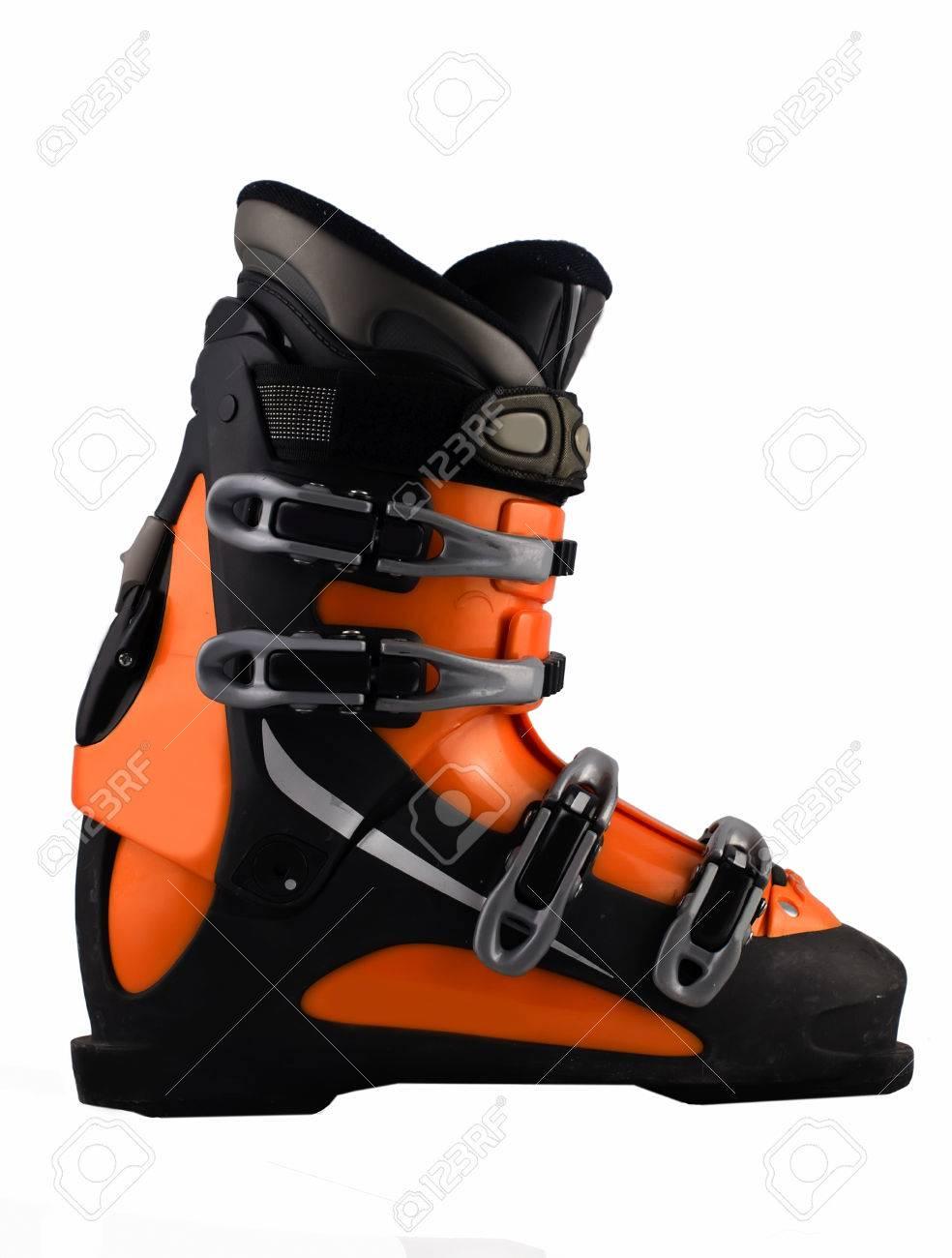 Blanc Isolé Sur De Ski Banque D'images Et D'orange Chaussure Photos CwX1qt