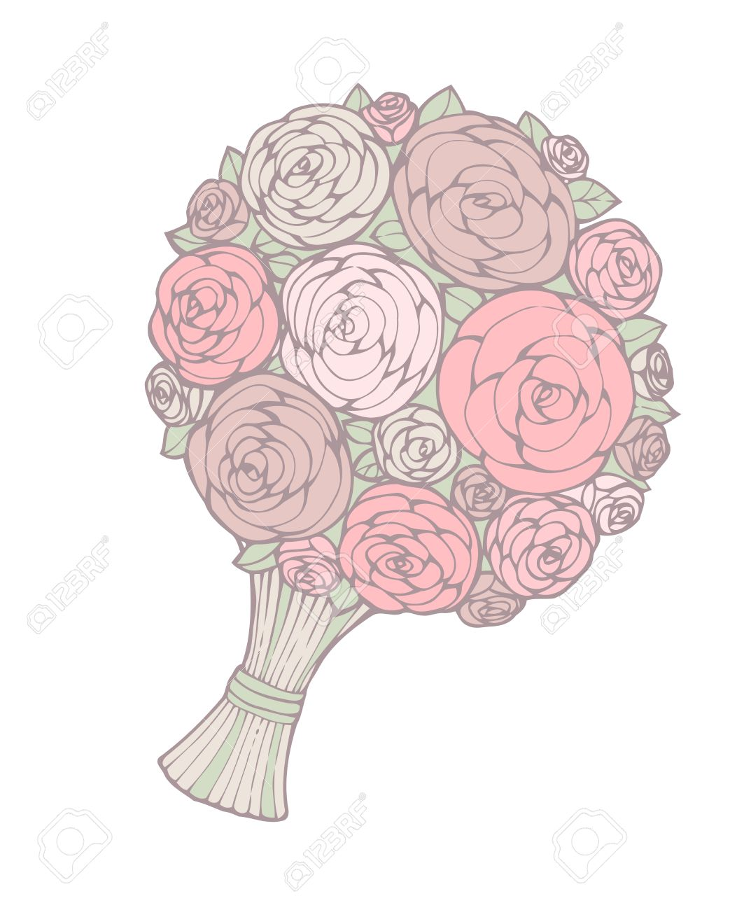 Floral Wedding Bouquet For Your Design Illustration Royalty Free