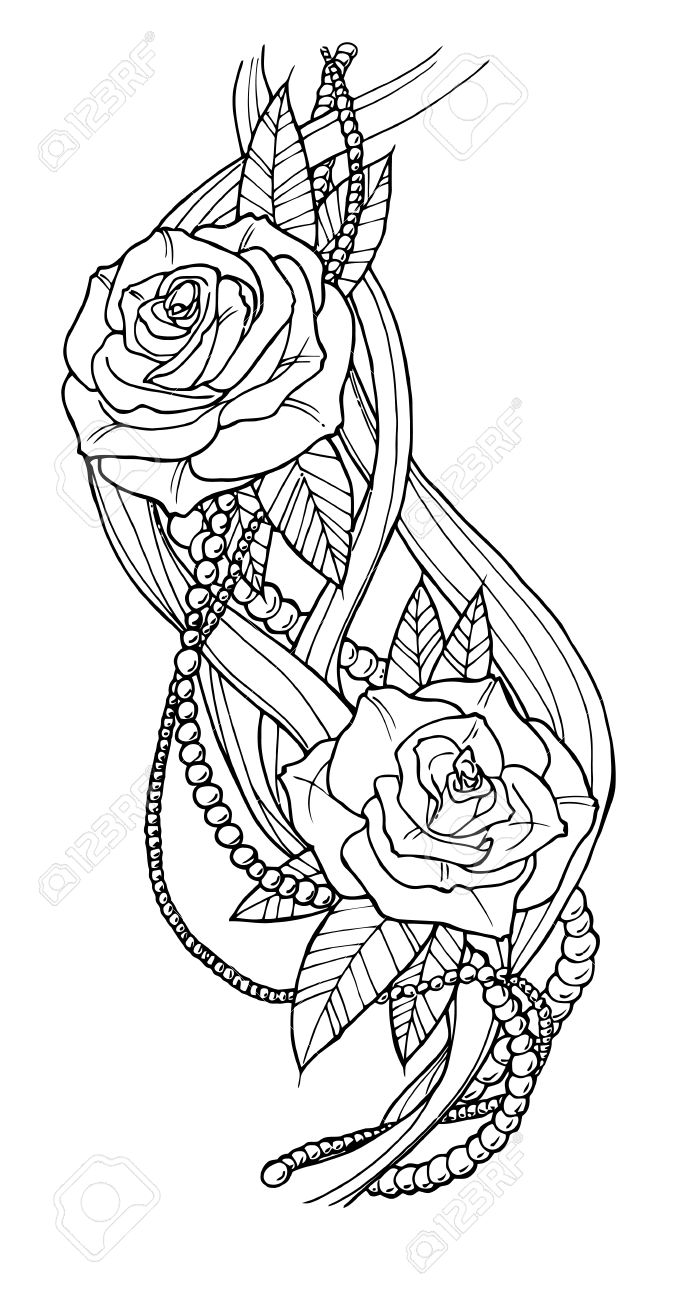 Beautiful rose tattoo outline black and white illustration stock vector 43255248