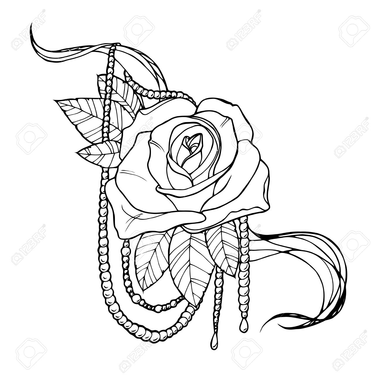 Beautiful rose tattoo outline black and white illustration stock vector 44133410