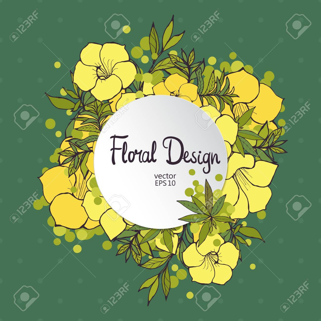 Circle floral frame with exotic yellow flowers and place for circle floral frame with exotic yellow flowers and place for your text stock vector 44698420 mightylinksfo