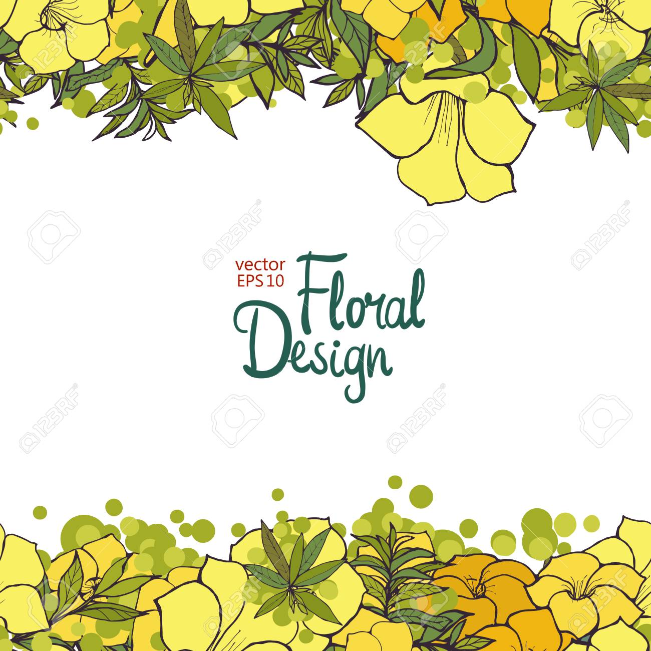 Horizontal Floral Border With Yellow Exotic Flowers And Place
