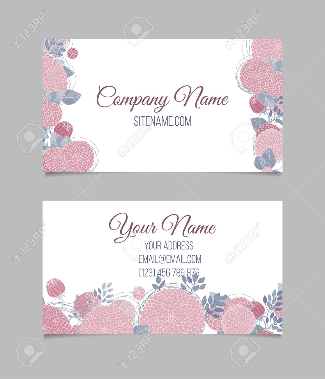 Double sided floral vintage business card with border made of double sided floral vintage business card with border made of hand drawn pink flowers reheart Image collections
