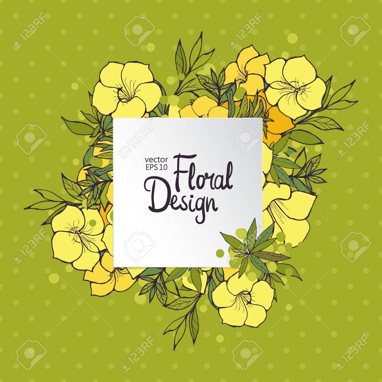 Square floral frame with exotic yellow flowers on green polka dot square floral frame with exotic yellow flowers on green polka dot background stok fotoraf 45728233 mightylinksfo