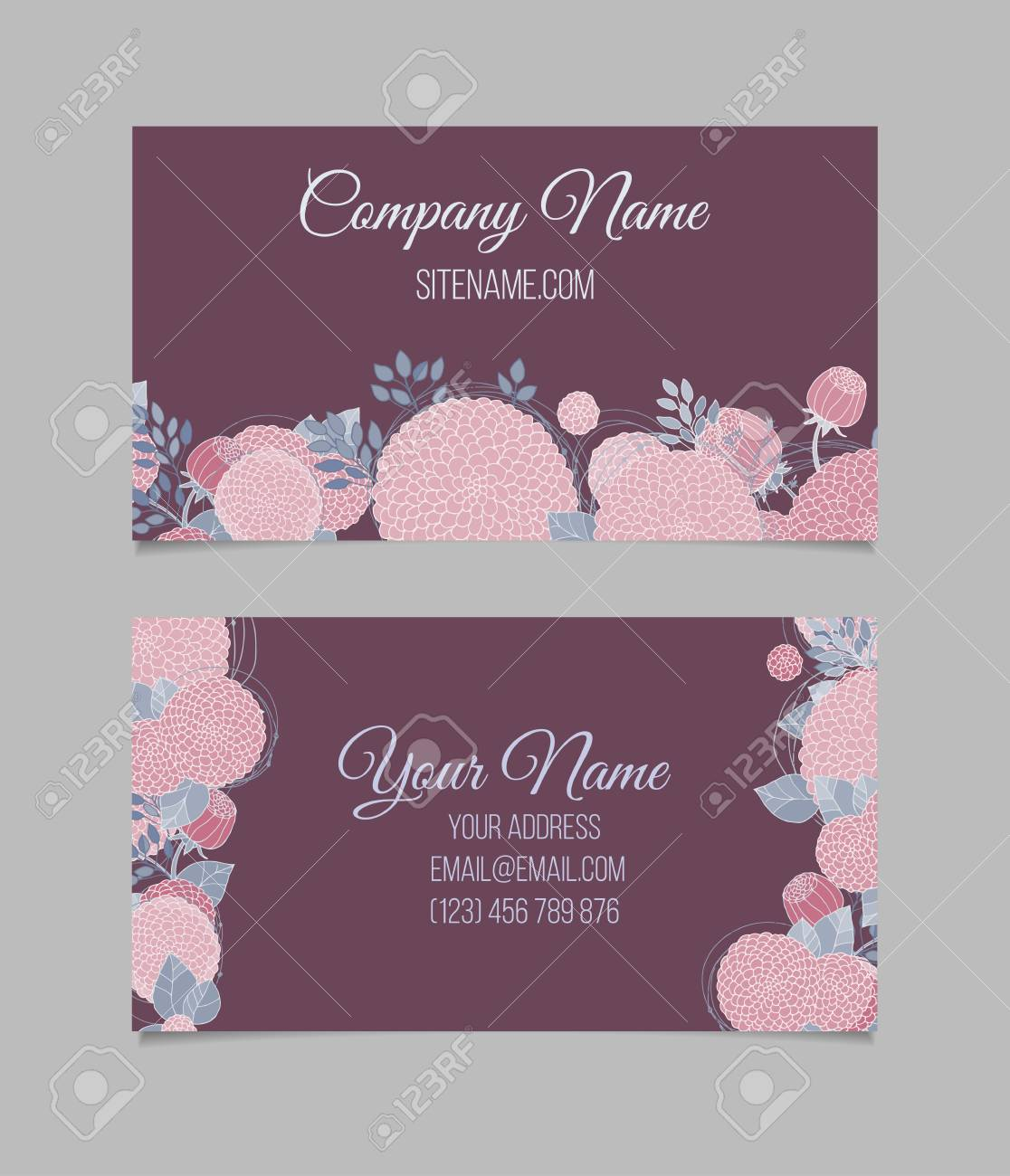 Double Sided Floral Vintage Business Card With Abstract Pink Flowers On Dark Background Stock