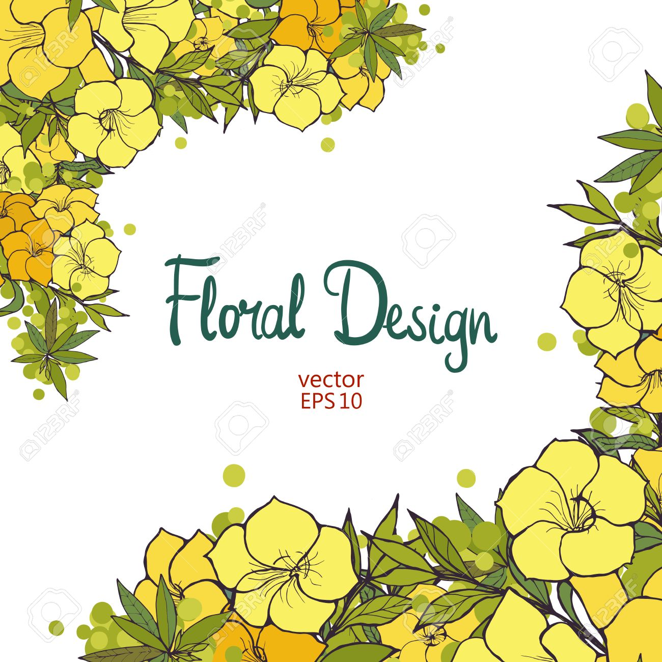 Beautiful border with hand drawn exotic yellow flowers floral beautiful border with hand drawn exotic yellow flowers floral design stock vector 46374202 mightylinksfo