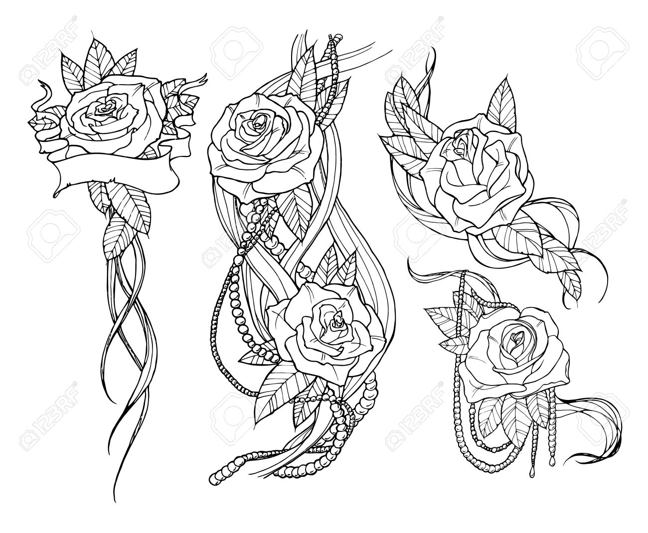 Beautiful Rose Tattoo Set Outline Black And White Illustration
