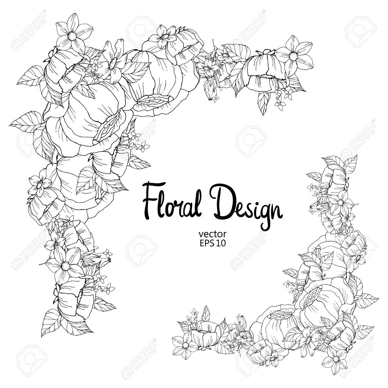 Black And White Outline Floral Frame, Vector Illustration Royalty ...