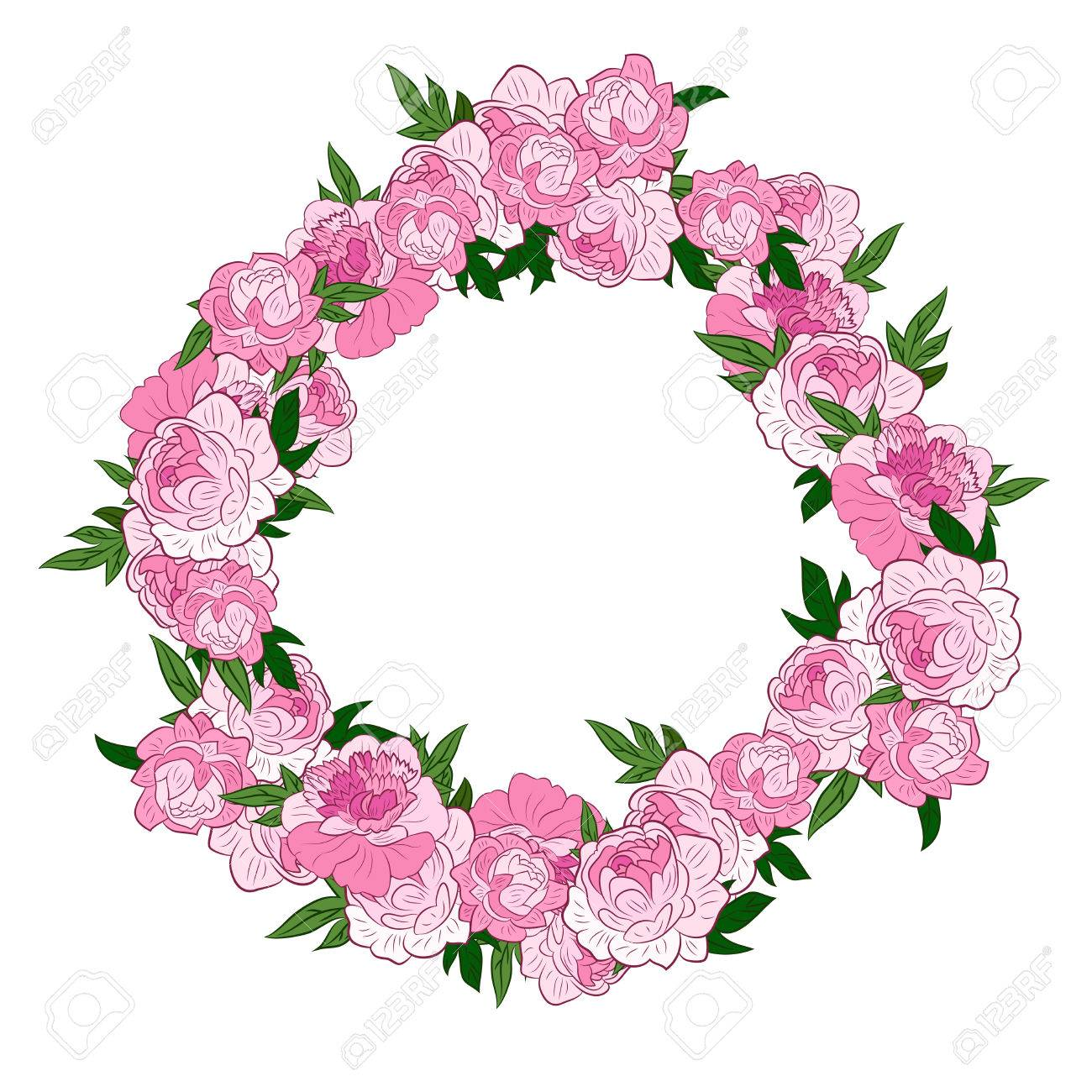 Pink flowers arranged un a shape of the wreath perfect for wedding pink flowers arranged un a shape of the wreath perfect for wedding invitations and birthday cards izmirmasajfo