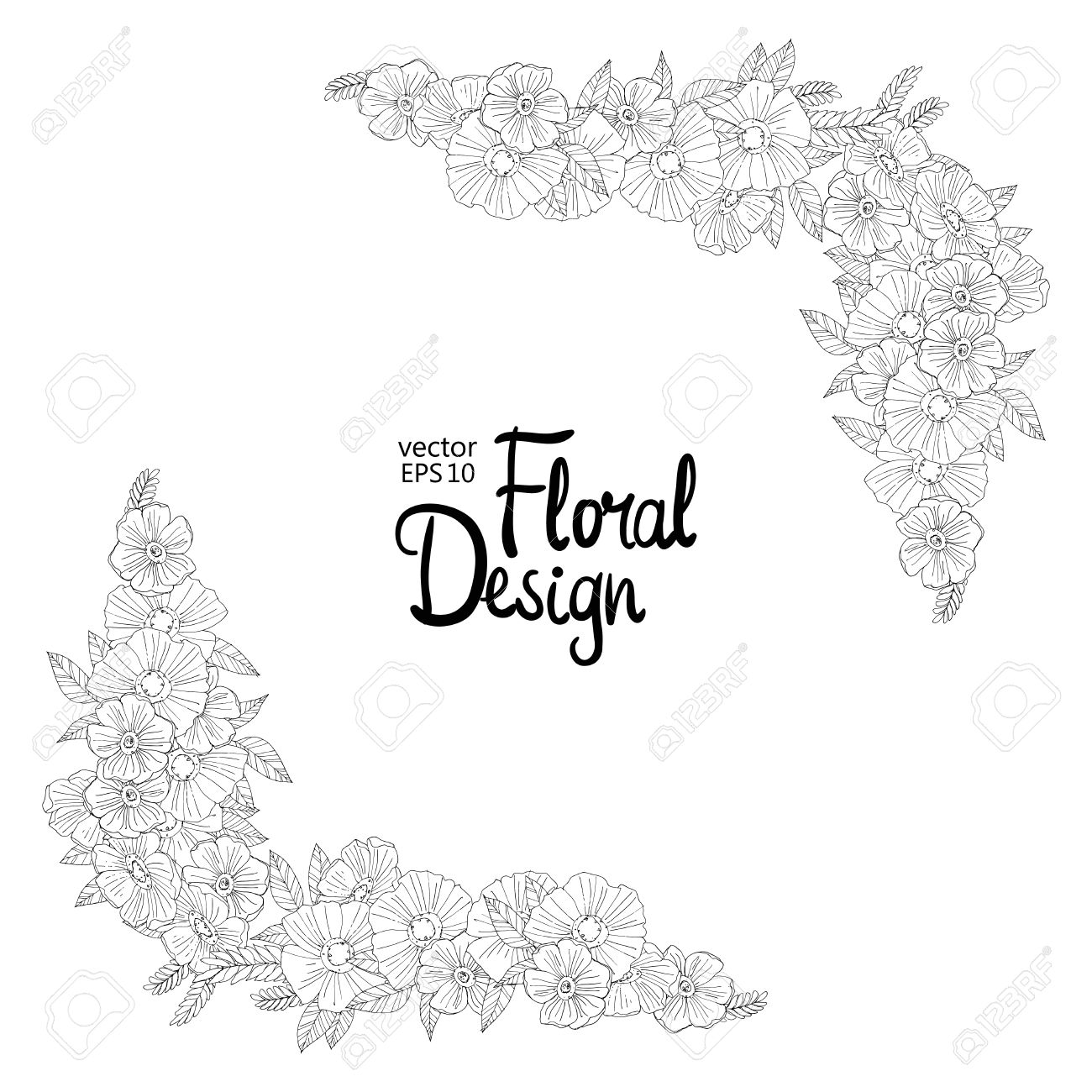 Black And White Outline Border Made With Flowers Floral Design