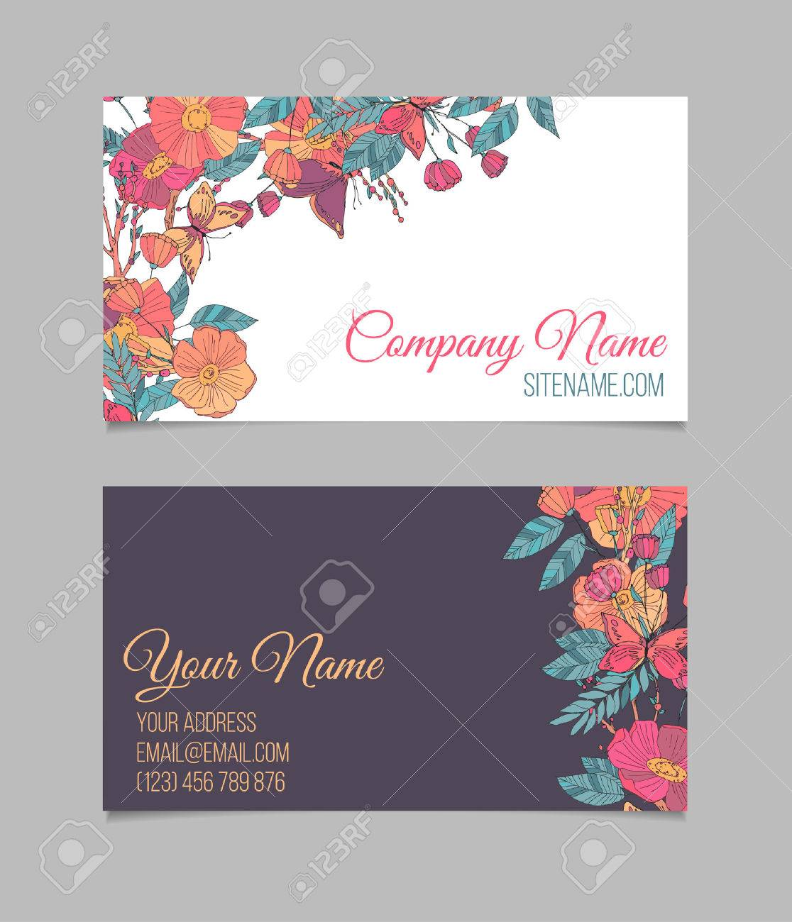 Double-sided Floral Business Card With Hand Drawn Small Flowers ...