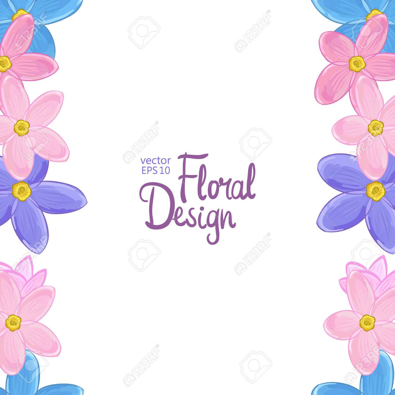 Floral Vertical Border With Blue Pink And Violet Forget Me Not Flowers On