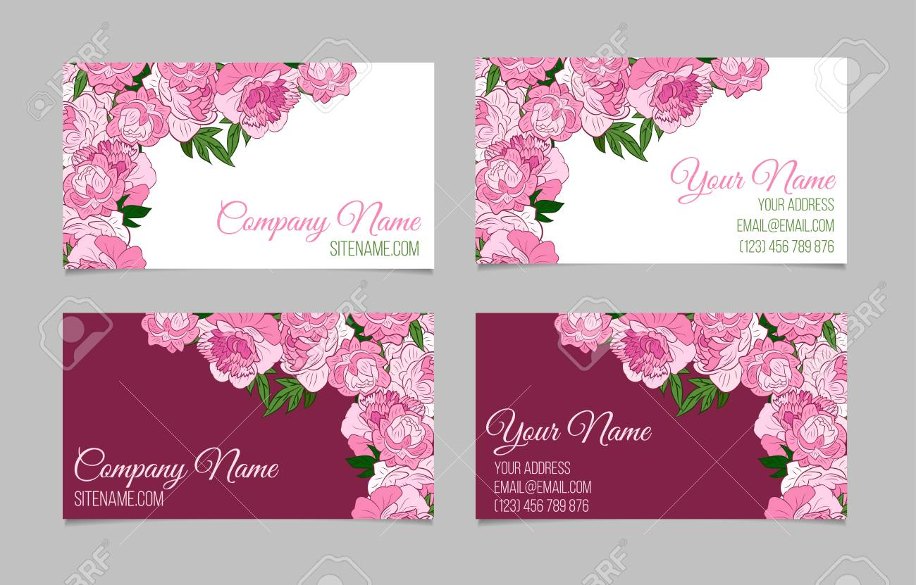 Double sided floral business card template with peonies on white double sided floral business card template with peonies on white and purple backgrounds stock vector cheaphphosting Gallery