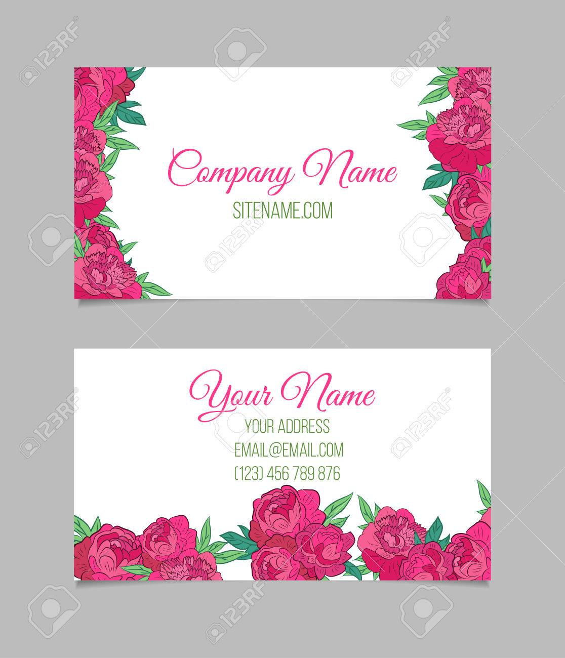 Double sided floral business card template with pink peonies double sided floral business card template with pink peonies on white background stock vector cheaphphosting Image collections
