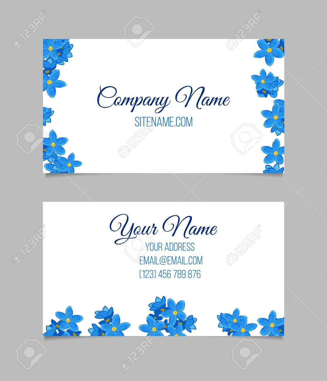 Floral business card temlate with blue forget me not flowers floral business card temlate with blue forget me not flowers double sided colourmoves