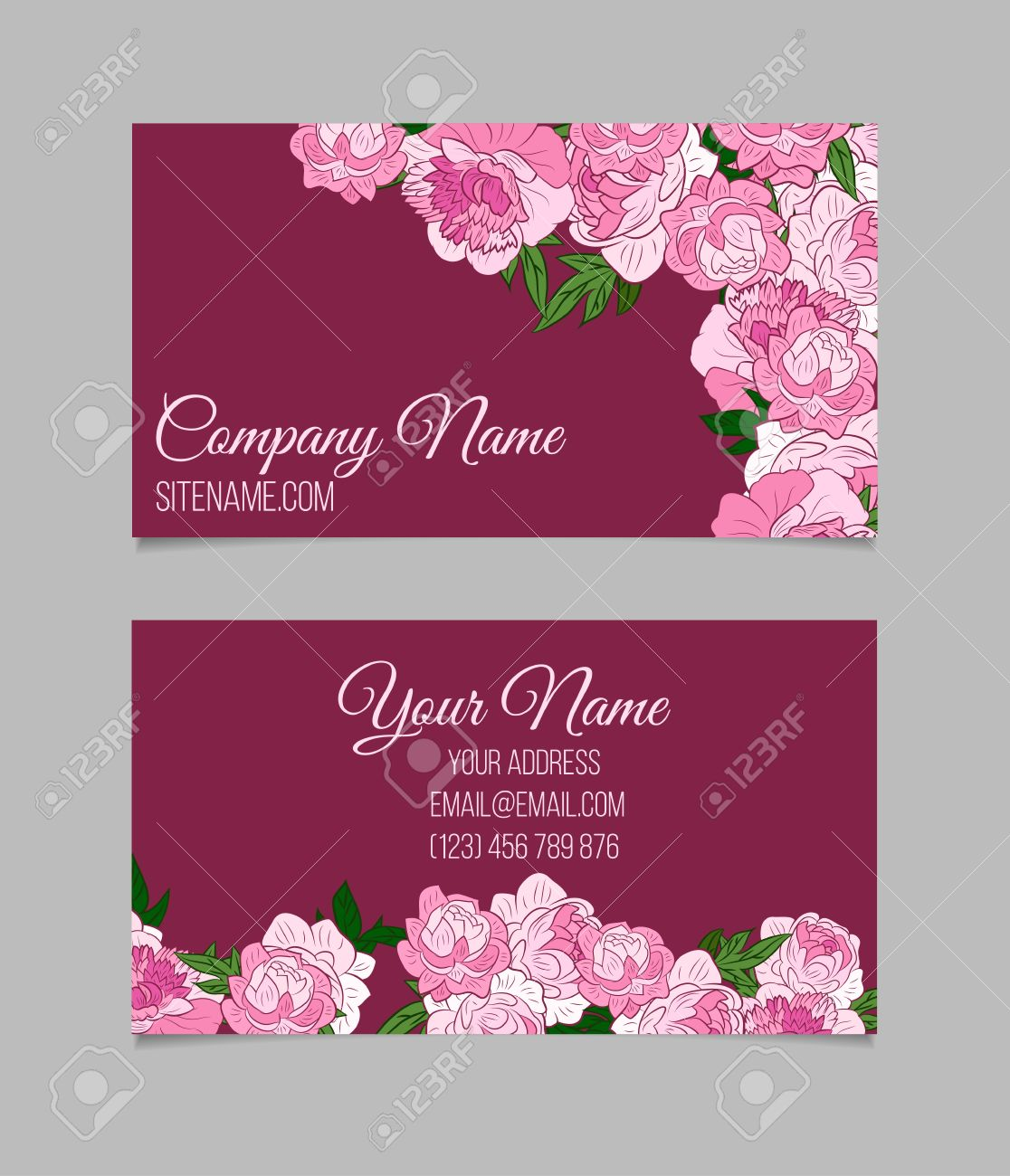 Double sided floral business card template with beautiful peonies double sided floral business card template with beautiful peonies on purple background stock vector cheaphphosting Gallery