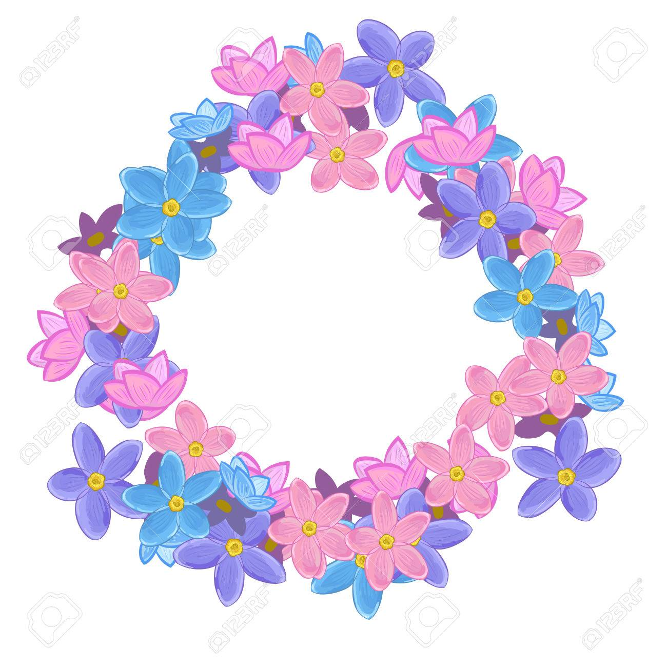 Small Pink Violet And Blue Flowers Arranged Un A Shape Of Round