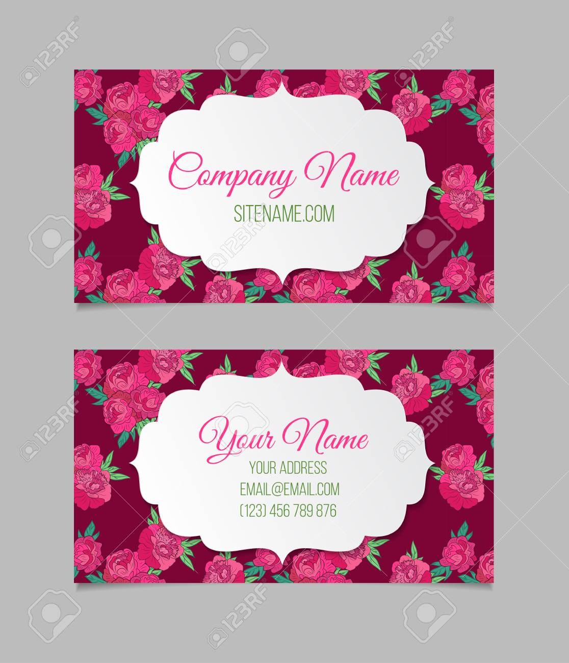 Double sided floral business card template with peonies royalty free double sided floral business card template with peonies stock vector 49814631 accmission Choice Image