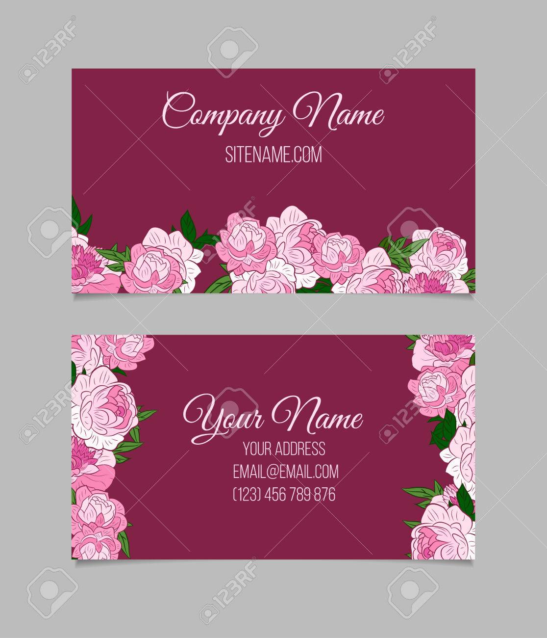 Double-sided Business Card Template With Beautiful Peonies On ...