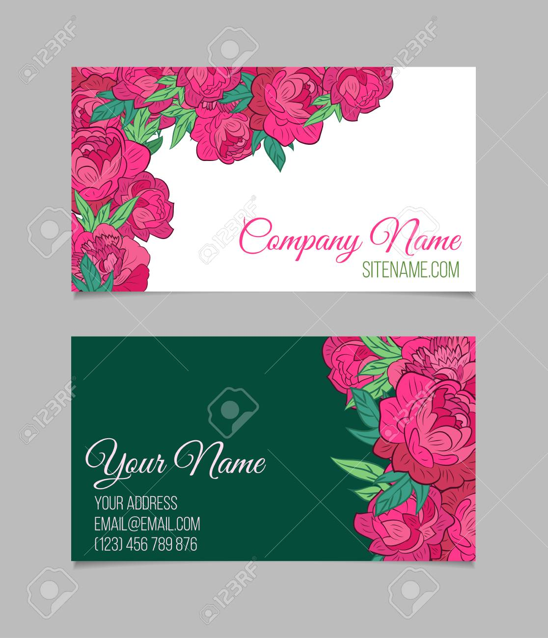 Double sided floral business card template with peonies on white double sided floral business card template with peonies on white and green backgrounds stock vector fbccfo Images