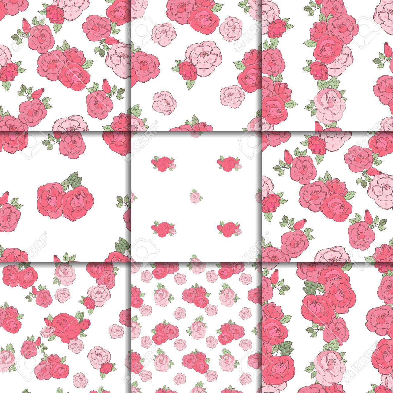 Nine Seamless Vintage Floral Patterns Pink Roses On The White