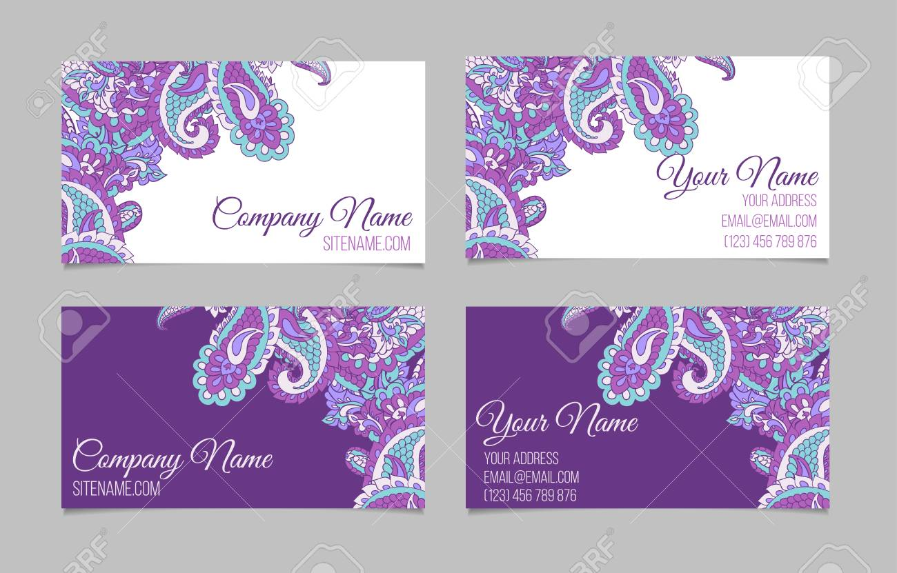 Collection Of Two Double-sided Business Cards. Paisley On Dark ...