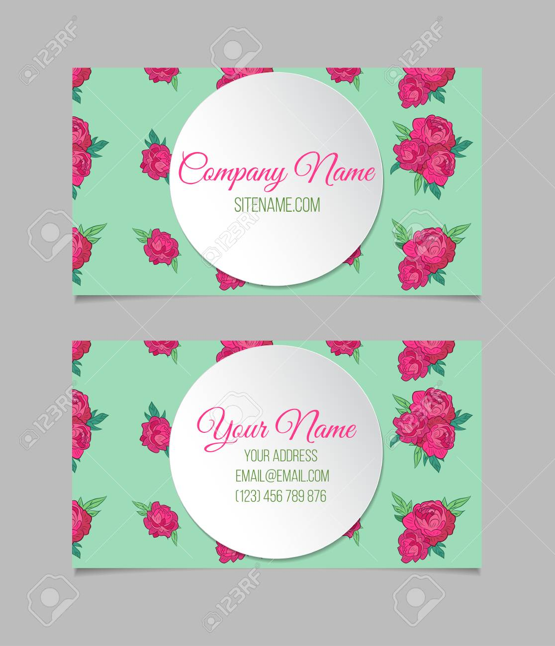 Double-sided Floral Business Card Template With Peonies And Round ...
