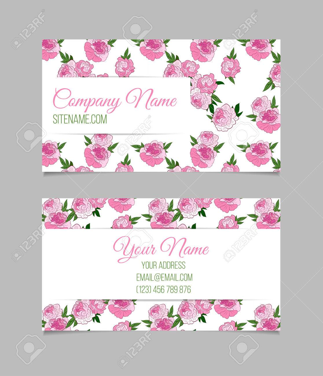 Double sided floral business card template with pink peonies double sided floral business card template with pink peonies on white background stock vector accmission Choice Image