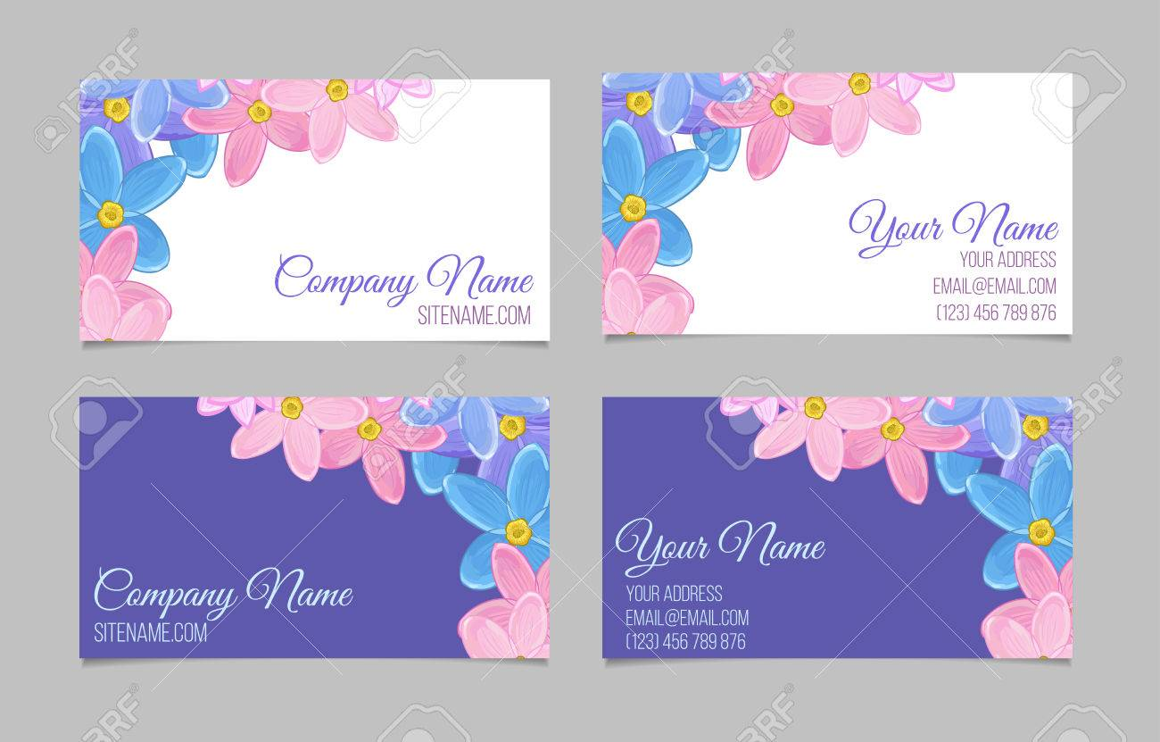 Set of two double sided floral business cards with small sweet set of two double sided floral business cards with small sweet flowers on white and m4hsunfo