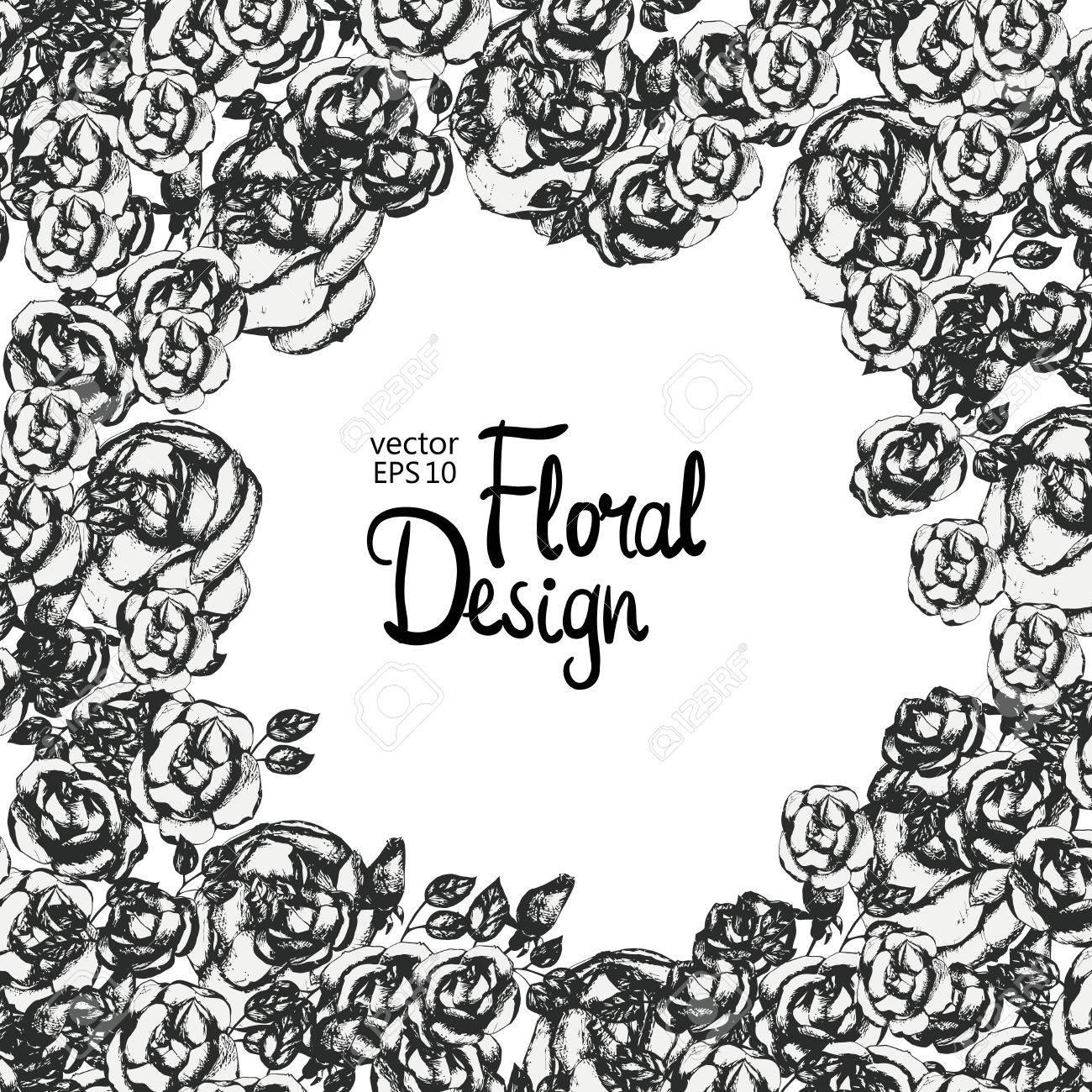 cadre de vecteur floral vintage. noir et blanc. fleurs dessinées à