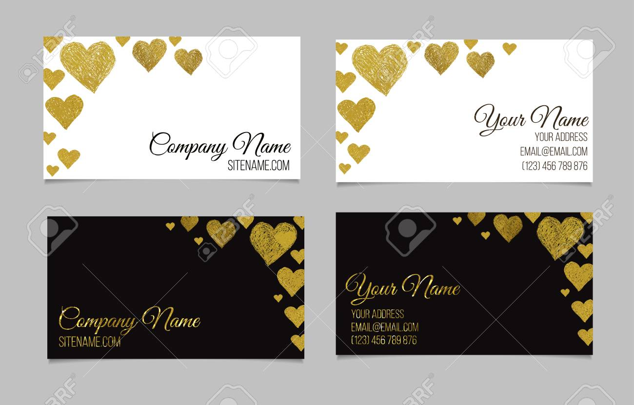 Business Card Template. Visiting Card Set With Golden Foil Heart ...
