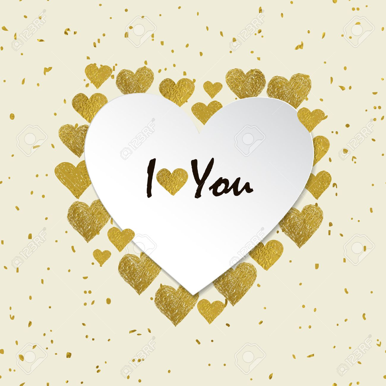 Heart Shaped Frame. Golden Foil Hearts And Place For Your Text ...