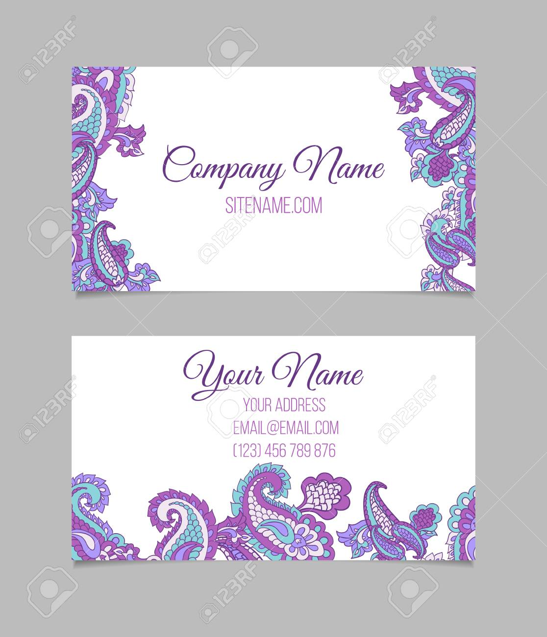 Double-sided Business Card Template. Asian Paisley Vector Visiting ...